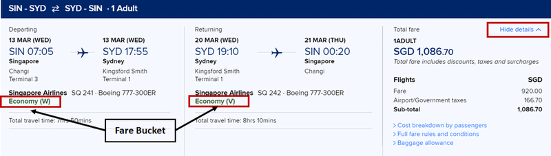 Booking tickets from Singapore to Sydney.